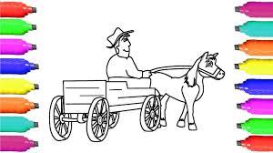 coloring pages horse and cart drawing for kids learn colors