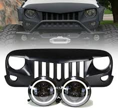 jeep grill icon jeep jk projector headlights halo u0026 eagle eye grille combo pack