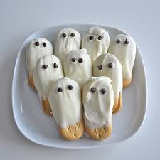 french vanilla white chocolate covered cookie ghosts with