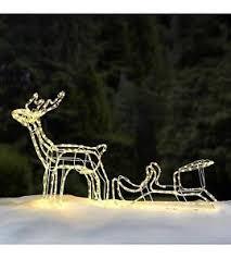Outdoor Sleigh Decoration Outdoor 3d Led Light Up Reindeer Sleigh Garden Christmas