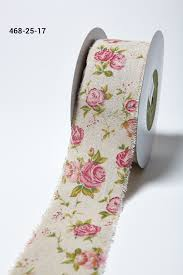 cotton ribbon 2 5 inch cotton blend w vintage inspired print may arts