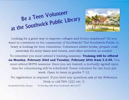 Resume Other Activities Southwick Public Library Teens January 2015