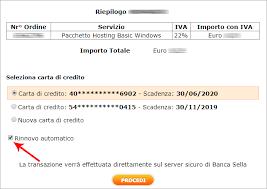 sella pagamenti pagamento di un servizio hosting aruba con carta di credito