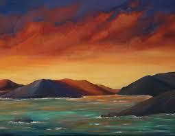 fiery sunset virgin islands seascape painting liz w art gallery