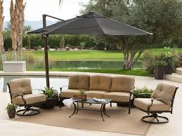 patio 52 black cantilever umbrella with cozy sofa and rug for