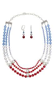 jewelry design triple strand necklace and earring set with