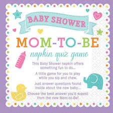 baby shower questions napkin trivia baby shower party