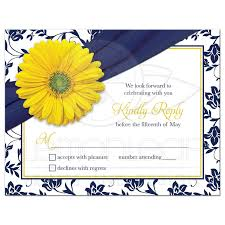 Invitations And Rsvp Cards Yellow Daisy Navy Floral Wedding Rsvp Card Navy Blue Yellow Damask