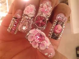 pink with chain and 3d flowers nail art gallery