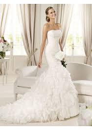mermaid style wedding dresses organza and lace strapless neckline mermaid style with layers