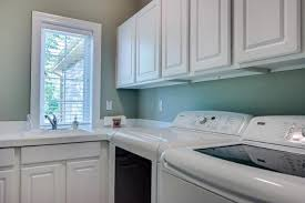 Hampton Bay Cabinets Traditional Laundry Room With Drop In Sink U0026 Built In Bookshelf In