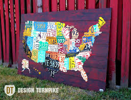 United States Map Wall Art by Custom Made License Plate Map Of The United States By Design