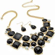 black necklace stone images Black stone diamante statement fashion jewellery necklace earring set jpg