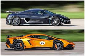 Lamborghini Aventador Side View - koenigsegg one1 lamborghini aventador sv side by side comparison