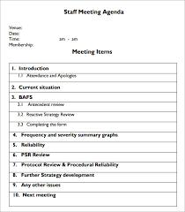 sample staff meeting agenda 4 documents for pdf
