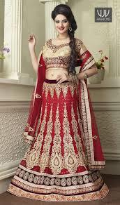 exquisite red zari work net a line lehenga choli famous designers