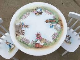 ceramic nature rabbit table l hand painted child s table set peter rabbit table set peter
