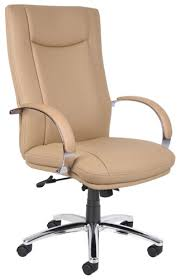 Tan Leather Office Chair Boss Modern Contemporary Slim Profile Executive Office Chair