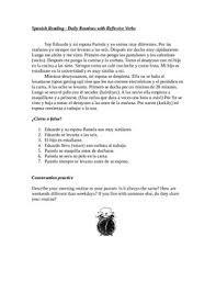 spanish reflexive verbs reading 2 worksheets verbos reflexivos