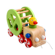 kids baby wooden toy pull car wisdom duck trailer blocks vehicle
