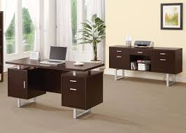 Office Desk Pedestal Drawers Contemporary Double Pedestal Office Desk With Metal Sled Legs