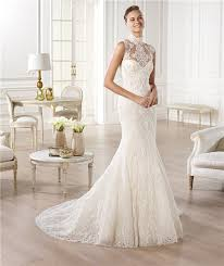wedding dress high neck high neck see through sheer back lace wedding dress with buttons