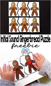 initial sound gingerbread puzzles a dab of glue will do