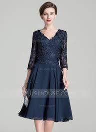 a line princess v neck knee length zipper up sleeves 3 4 sleeves