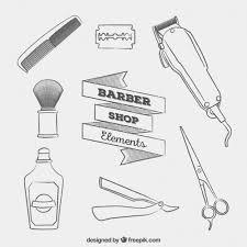 sketches barber shop elements vector free download