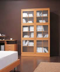 Wooden Bookcase With Glass Doors Best Bookcase With Glass Doors Dans Design Magz To Buy