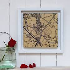 new home postcode map print on wood by northern logic