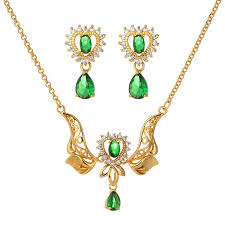 emerald heart pendant necklace images High quality new design 24k yellow gold plated heart charm link jpg