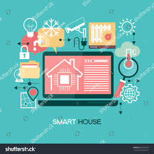 smart home control concept smart house stock vector 565263529