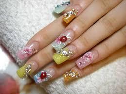 splendid nail extensions design with acrylic flowers rhinestones