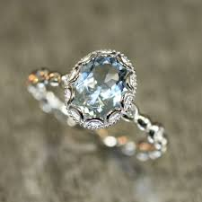 vintage oval engagement rings 14k white gold floral aquamarine engagement ring in pebble
