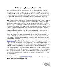 Dj Resume Resume Cv Cover Letter by Wedding Hostess Cover Letter