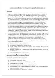 japanese contribution to production operation management