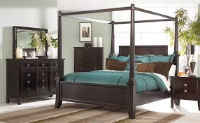 Wood Canopy Bed Bedroom Black Stained Wooden Canopy Bed Frame With White Curtain