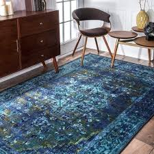 Area Rugs 4 X 6 Nuloom Traditional Vintage Inspired Overdyed Fancy Blue Area Rug