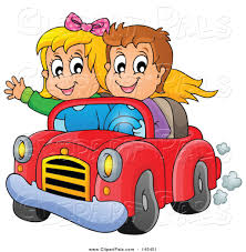 cartoon convertible car pal clipart of a happy white boy and driving in a red