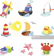 various animals with boats on a white background vector art