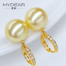 gaudy earrings mydear pearl jewelry eternity 100 real 10 11mm golden