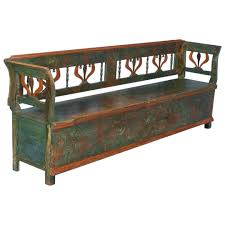 antique long distressed solid wood storage bench with unique back