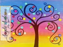rainbow button tree acrylic painting tutorial live summer