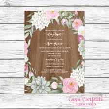 communion invitations for girl rustic baptism invitation girl succulent christening invitation