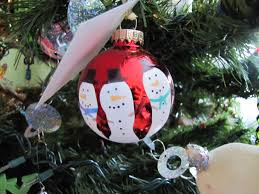 sustainably chic designs snowman handprint ornaments