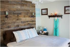rustic headboard ideas with chandelier and wooden table and shelf