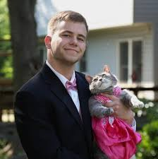 Prom Meme - this guy took his cat to prom and became a glorious meme