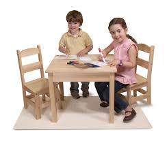 Outdoor Childrens Table And Chairs Amazon Com Melissa U0026 Doug Solid Wood Table And 2 Chairs Set