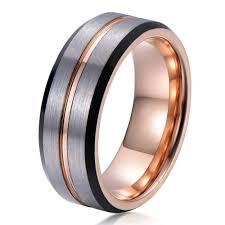 man rings images Mens rose gold wedding band ring brushed 8mm tungsten carbide man jpg
